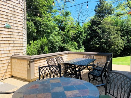 Orleans Cape Cod vacation rental - Upper Patio via sliders: Seating for 10 w/ Overhead LED Lighting