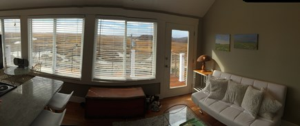 Provincetown Cape Cod vacation rental - Living room with access to large southern deck