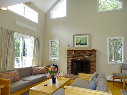 Wellfleet, Indian Neck Cape Cod vacation rental - Open bright living area with cathedral ceiling and fireplace