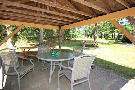 South Dennis Cape Cod vacation rental - Lovely outdoor dining under the Pavillion (gas grill on side)