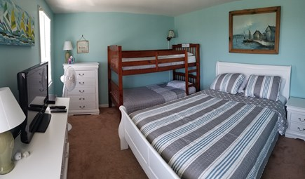 Truro Cape Cod vacation rental - Second bedroom with new queen bed, bunks and 32 in. TV