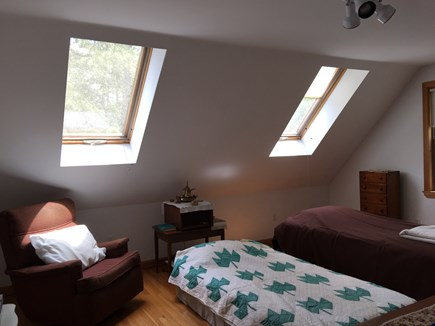 Wellfleet Cape Cod vacation rental - Bright bedroom with two skylights and two twin beds.