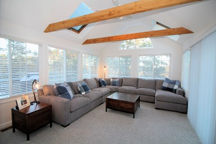 Wellfleet Cape Cod vacation rental - Wonderful, bright sun room with comfortable sectional sofa