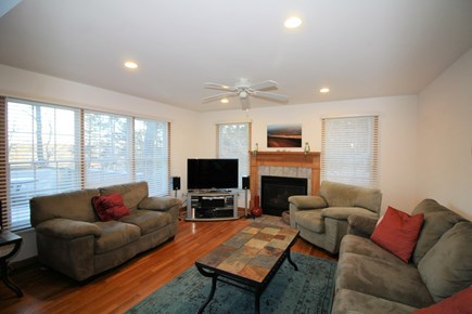 Wellfleet Cape Cod vacation rental - Living room with comfortable seating, TV and gas fireplace