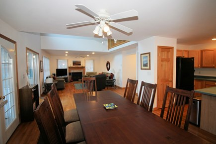 Wellfleet Cape Cod vacation rental - Dining area with large table opens to living area and kitchen