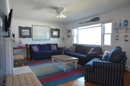 Plymouth MA vacation rental - Main floor Living Room (1)—Pullout sofa.
