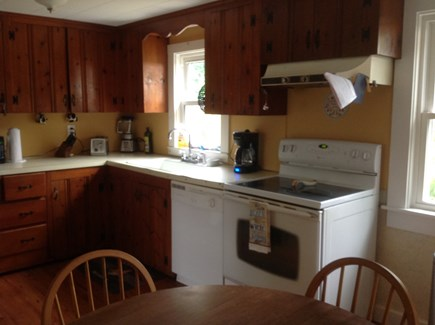 Dennis Port Cape Cod vacation rental - Kitchen. 12K BTU air conditioner window unit.