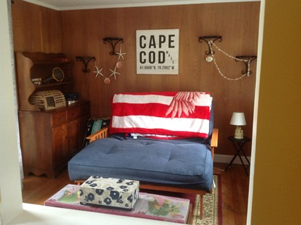 Dennis Port Cape Cod vacation rental - Den with full size futon, located next to kitchen. Slider to deck