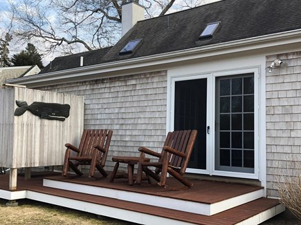 Barnstable Village Cape Cod vacation rental - Master Bedroom Deck.Entrance to Outdoor Shower.