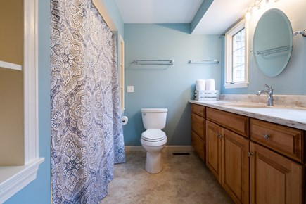 Chatham Cape Cod vacation rental - Master bath with tub/shower combo