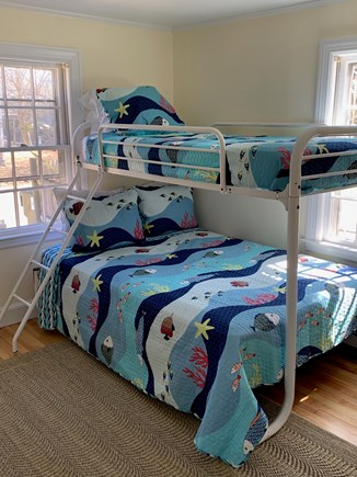 Barnstable Cape Cod vacation rental - Cheery and bright Twin/Full bunkbed on first floor.