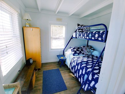 Wellfleet Cape Cod vacation rental - Air-conditioned waterfront bedroom with double and single bunkbed