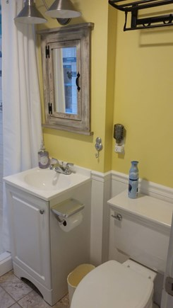 Wellfleet Cape Cod vacation rental - Renovated bathroom w/ tiled shower featuring historical images.