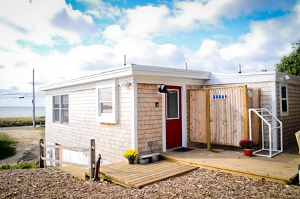 Wellfleet Cape Cod vacation rental - New decking & outdoor shower.  No need for shoes!