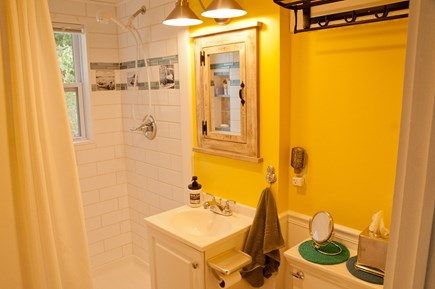 Wellfleet Cape Cod vacation rental - Fully renovated bath with historical tiles & plenty of storage
