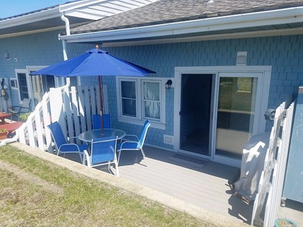Chatham Cape Cod vacation rental - Rear patio offers propane grill and dining set with umbrella