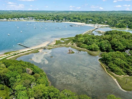 Pocasset, Monument Beach Pocasset vacation rental - Island dock and beach with Phinney's Harbor beach in upper right.