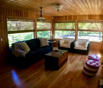 Brewster Cape Cod vacation rental - 4 season sunroom with flat screen TV