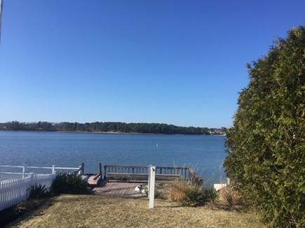 West Dennis Cape Cod vacation rental - Landing at the end of private way, bench seat and water access.