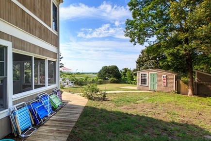 Hyannis Cape Cod vacation rental - View from outside shower, picnic table, and gas grill
