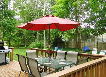 Colonial Acres, West Yarmouth Cape Cod vacation rental - Deck with gas grill, seating