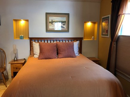 Provincetown Cape Cod vacation rental - Guest bedroom with queen bed & cathedral ceiling