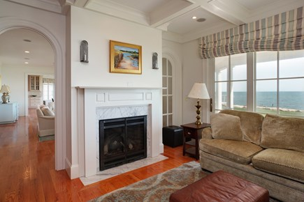 East Falmouth Cape Cod vacation rental - Family room with TV and walls of windows to enjoy the view