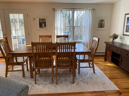 Eastham Cape Cod vacation rental - Solid birch table and six chairs, with two leaves.