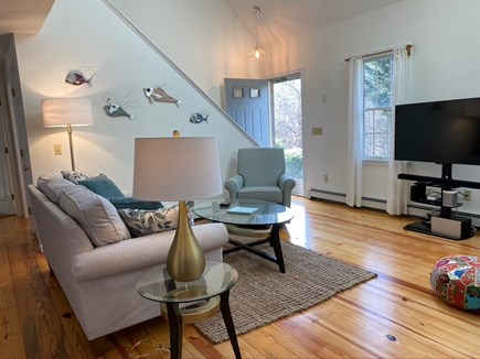 North Eastham Cape Cod vacation rental - Newly furnished cathedral living room with skylights, Roku TV.