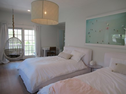 Chatham Cape Cod vacation rental - A Teens Dream Upstairs Bedroom With 2 Beds, Swing Chair & Balcony