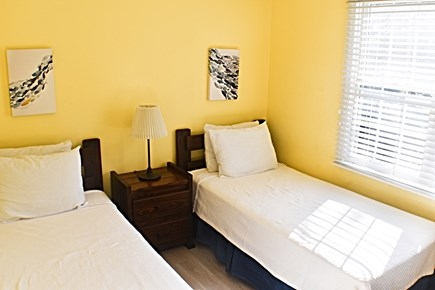 Eastham Cape Cod vacation rental - Twin Bedroom facing the front of the house. Dresser, A/C, Closet