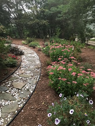 Eastham, near town green, wind Cape Cod vacation rental - Path to front door. We hand picked ALL stones from ocean beaches!