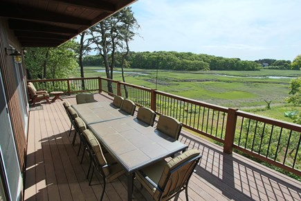 Wellfleet Cape Cod vacation rental - Large table on deck overlooking the water views