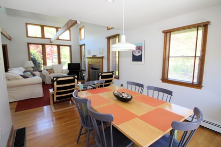 Wellfleet Cape Cod vacation rental - Dining area opens to kitchen and living, has slider to deck