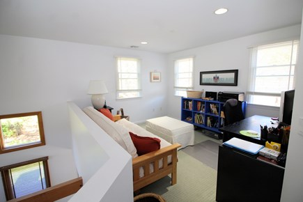 Wellfleet Cape Cod vacation rental - Loft with sofa and desk opens to living room below