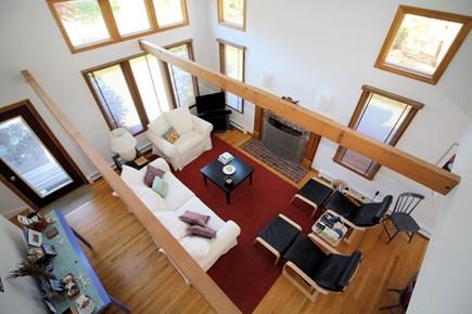 Wellfleet Cape Cod vacation rental - View of living room from open loft on second floor