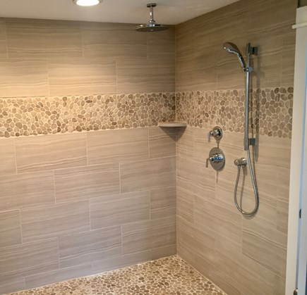 South Truro Cape Cod vacation rental - Master bathroom with rain shower, tub and double vanity