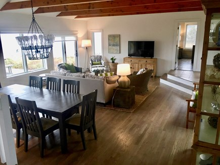 South Truro Cape Cod vacation rental - Living room dining area overlooking ocean