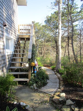 Truro Cape Cod vacation rental - Stairs to the Deck and Path to the Outdoor Shower