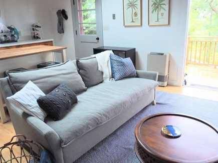 Indian Neck, Wellfleet Cape Cod vacation rental - From the couch you can a great breeze through the sliding doors.