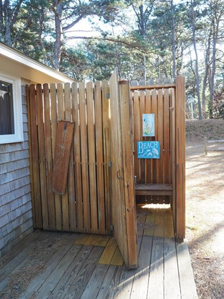 Indian Neck, Wellfleet Cape Cod vacation rental - The outdoor shower has a changing area.