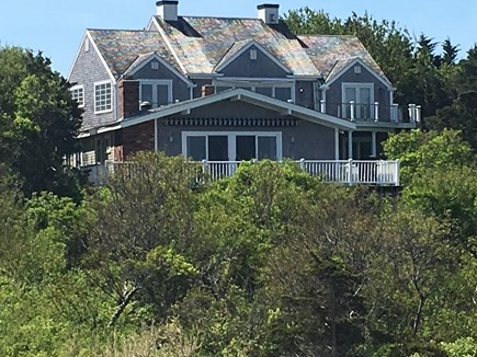 Dennis Cape Cod vacation rental - View of Front of House with Deck-Not the large house behind it!