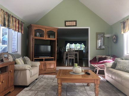Dennis Cape Cod vacation rental - Vaulted family room w/flat screen TV & slider to beautiful deck