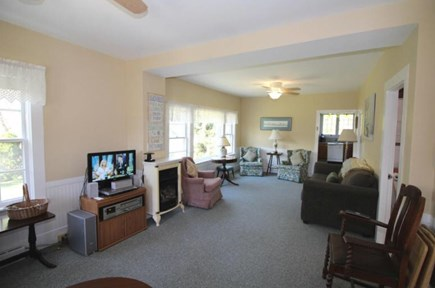 Wellfleet Cape Cod vacation rental - Large bright living room with two ceiling fans.