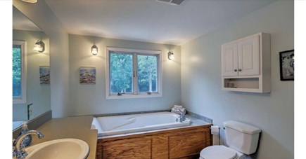 Falmouth, Waquoit Cape Cod vacation rental - Master bathroom with large soaking tub and shower