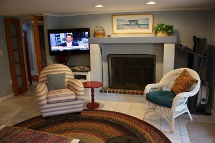 East Sandwich Cape Cod vacation rental - Living Room with working fireplace and TV