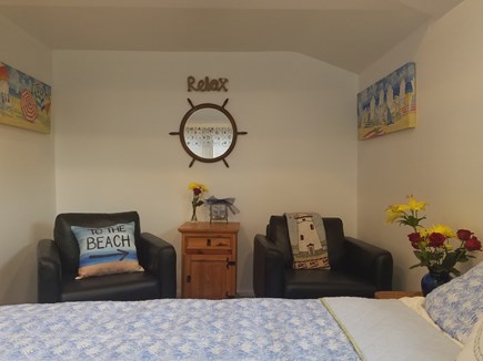 Dennis Port Cape Cod vacation rental - Sitting area inside bedroom, Air conditioned and fan