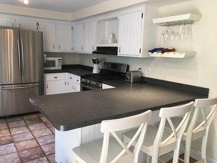 Orleans Cape Cod vacation rental - Main kitchen, bright and airy. Seating for 3 at kitchen bar.