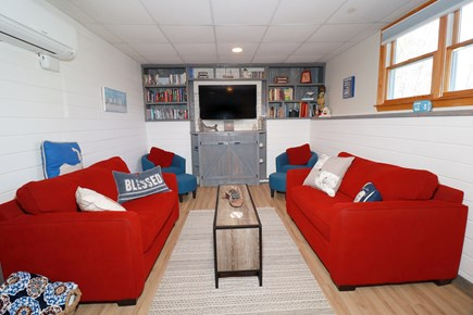 E Falmouth Cape Cod vacation rental - Cozy Lower Level TV/Media Room with Games, Videos, Books
