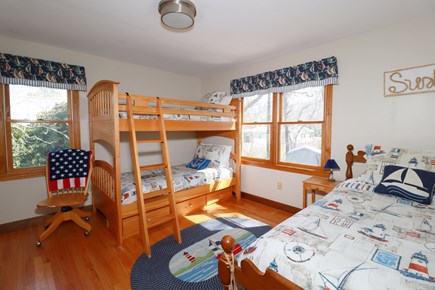 E Falmouth Cape Cod vacation rental - Nautical Theme Upper Bunk Room Plus Twin Sleeps Three